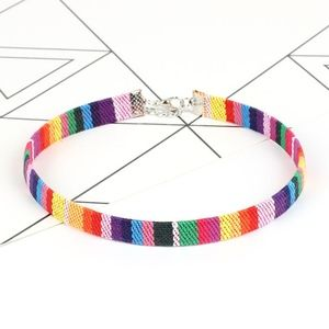 Jewelry - Multicolor Leather Embroidered Thin Choker